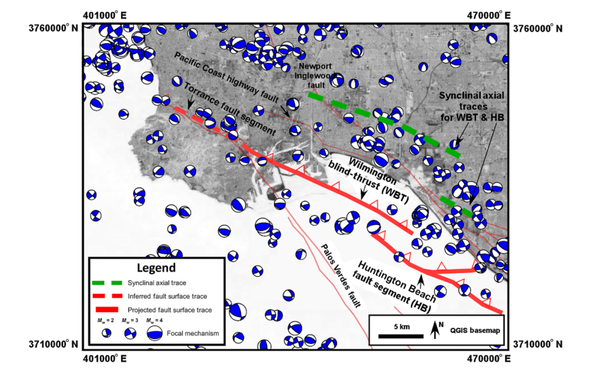 A map shows the Wilmington Fault. (Credit: U.S. Geological Survey via Los Angeles Times)