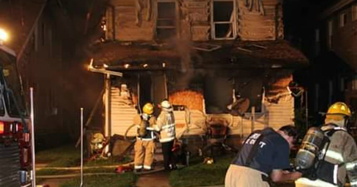 Firefighters respond to a blaze at an Erie, Pennsylvania home and day care on Aug. 11, 2019. (Credit: Erie Fire Department via CNN)