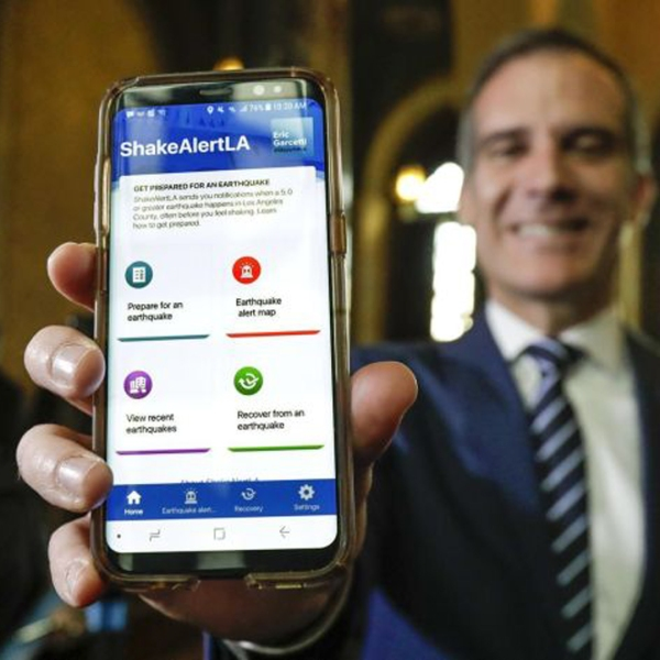 Los Angeles Mayor Eric Garcetti at the launch announcement of ShakeAlertLA, the nation's first publicly available earthquake early warning mobile app, in January.(Credit: Irfan Khan / Los Angeles Times)