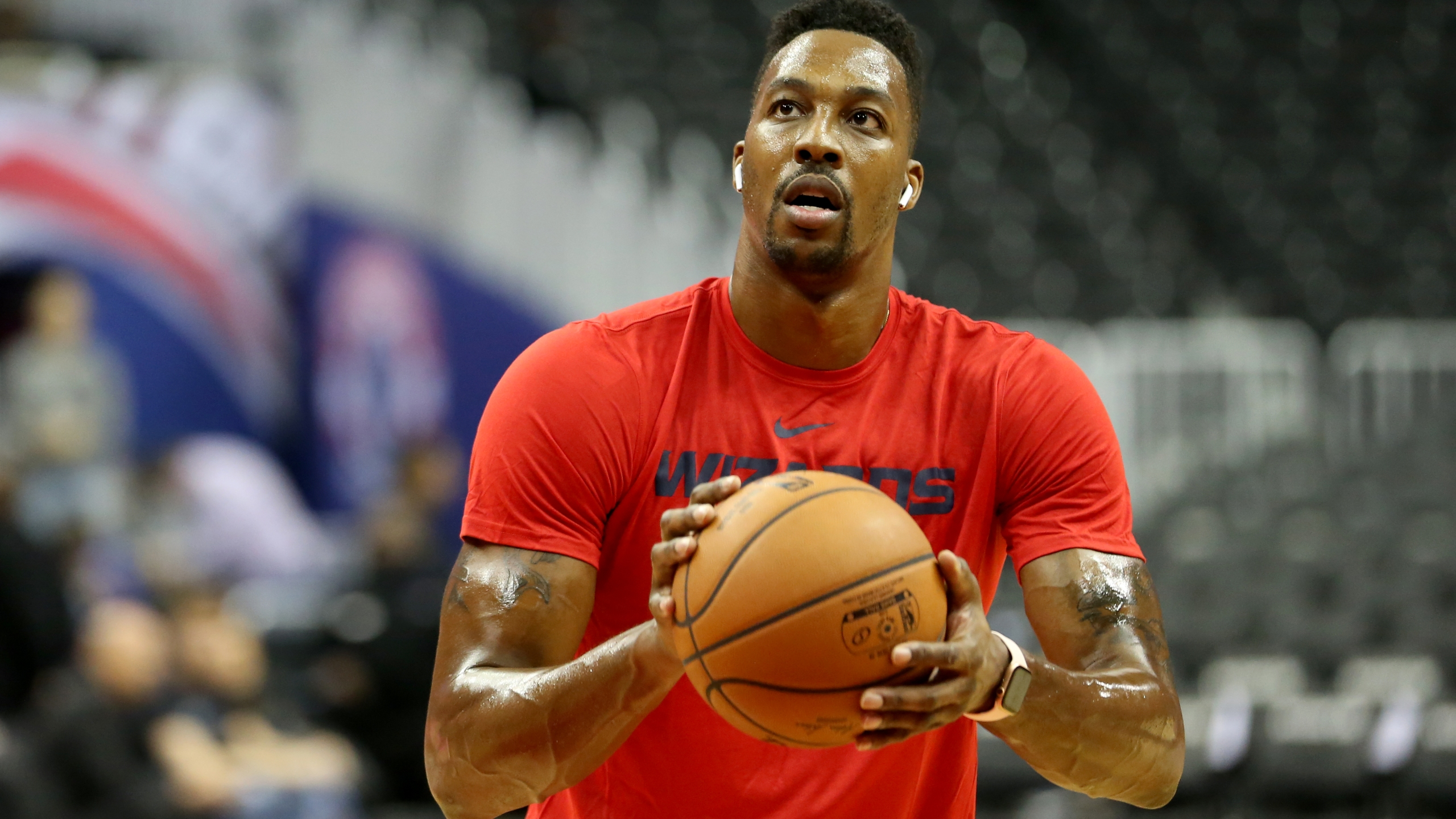 Dwight Howard of the Washington Wizards warms up prior to a preseason NBA game against the Miami Heat in Washington, D.C., on Oct. 5, 2018. (Credit: Will Newton / Getty Images)