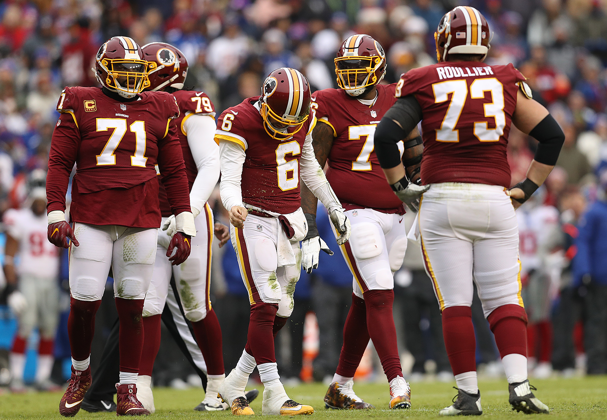 Quarterback Mark Sanchez of the Washington Redskins reacts after a sack in the second quarter against the New York Giants at FedExField on December 9, 2018 in Landover, Maryland. (Credit: Patrick Smith/Getty Images)