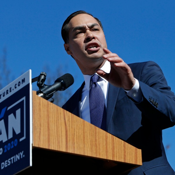 Julian Castro, former U.S. Department of Housing and Urban Development (HUD) Secretary and San Antonio Mayor, announces his candidacy for president in 2020 at Plaza Guadalupe on Jan. 12, 2019 in San Antonio, Texas. (Credit: Edward A. Ornelas/Getty Images)