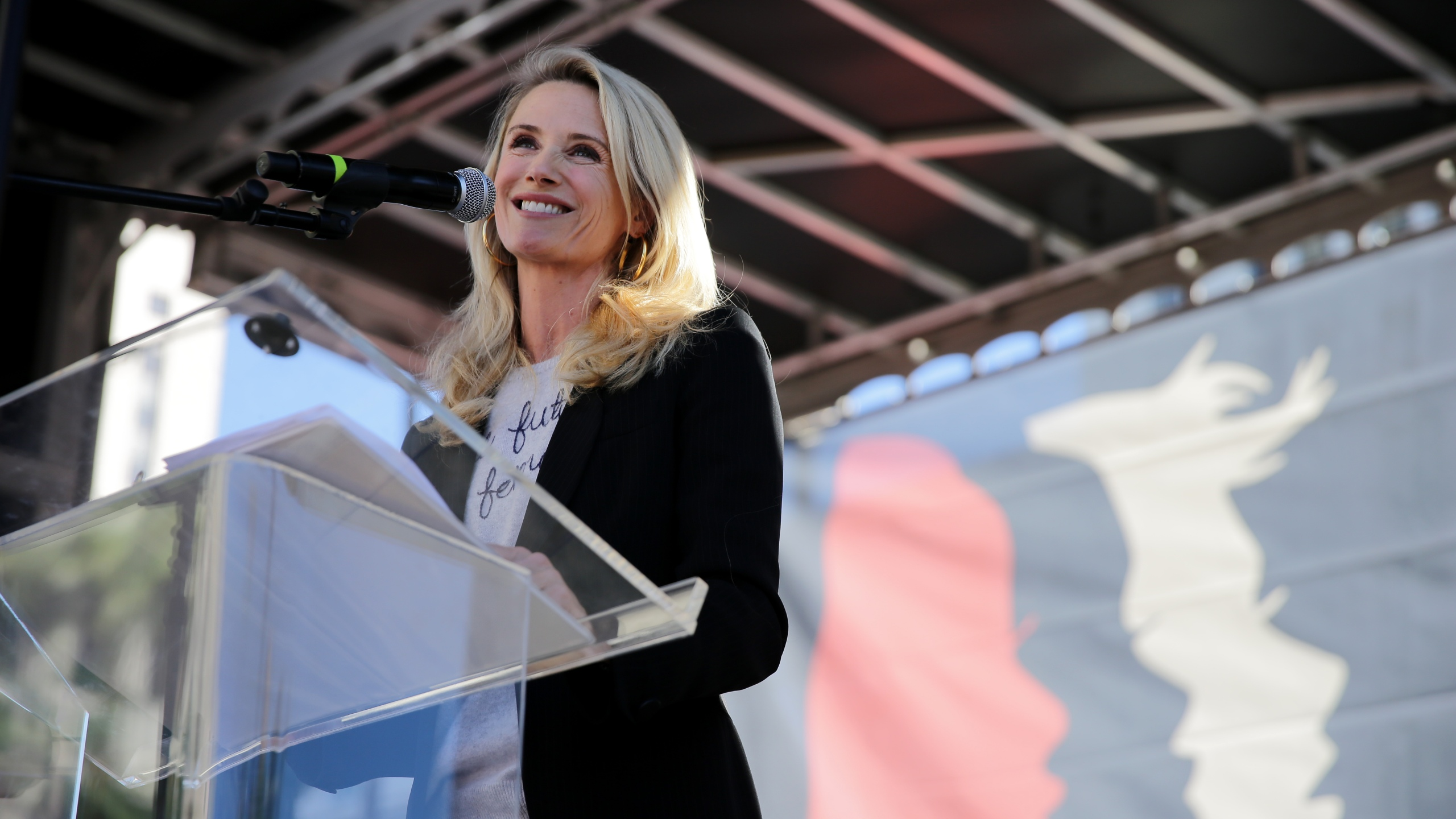 Jennifer Siebel Newsom speaks at the Women's March on Jan. 19, 2019 in Los Angeles. (Credit: Sarah Morris/Getty Images)