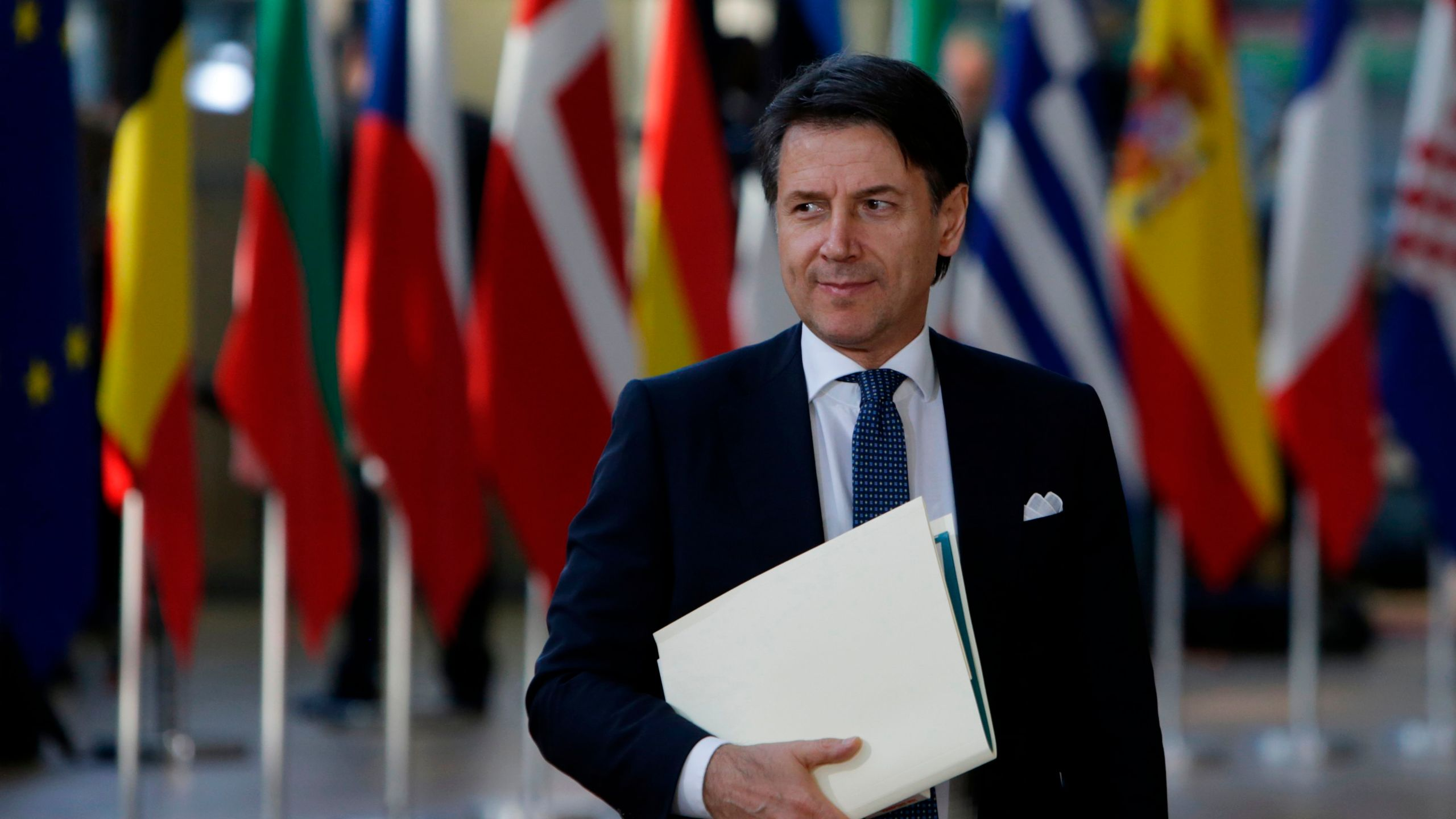 Italy's Prime Minister Giuseppe Conte arrives ahead of a European Council meeting at the European Parliament in Brussels on April 10, 2019. (Credit: Aris Oikonomou //AFP/Getty Images)