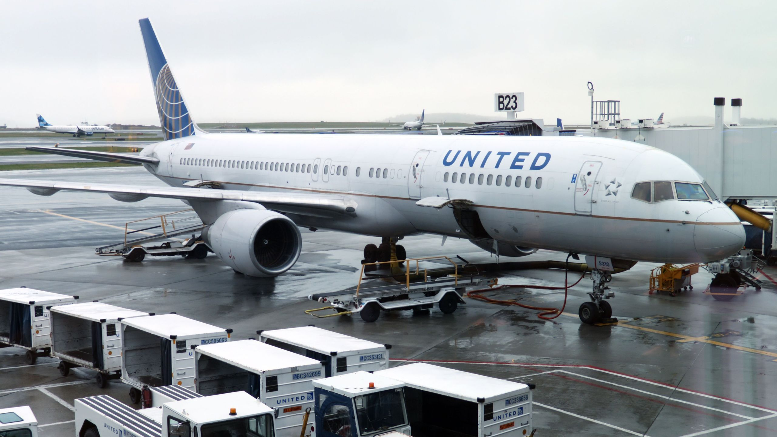 A United Airlines plane is parked at the gate on April 23, 2019, at Boston Logan International Airport. (Credit: Daniel Slim/AFP/Getty Images)