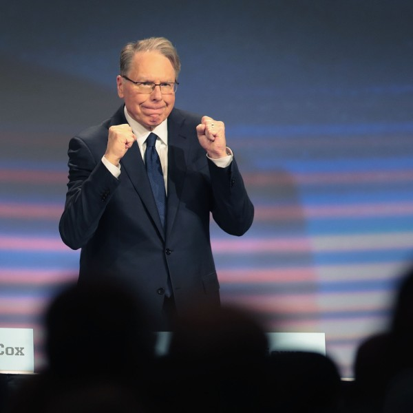 Wayne LaPierre, NRA vice president and CEO, attends the NRA annual meeting of members at the 148th NRA Annual Meetings and Exhibits on April 27, 2019 in Indianapolis, Indiana. (Credit: Scott Olson/Getty Images)