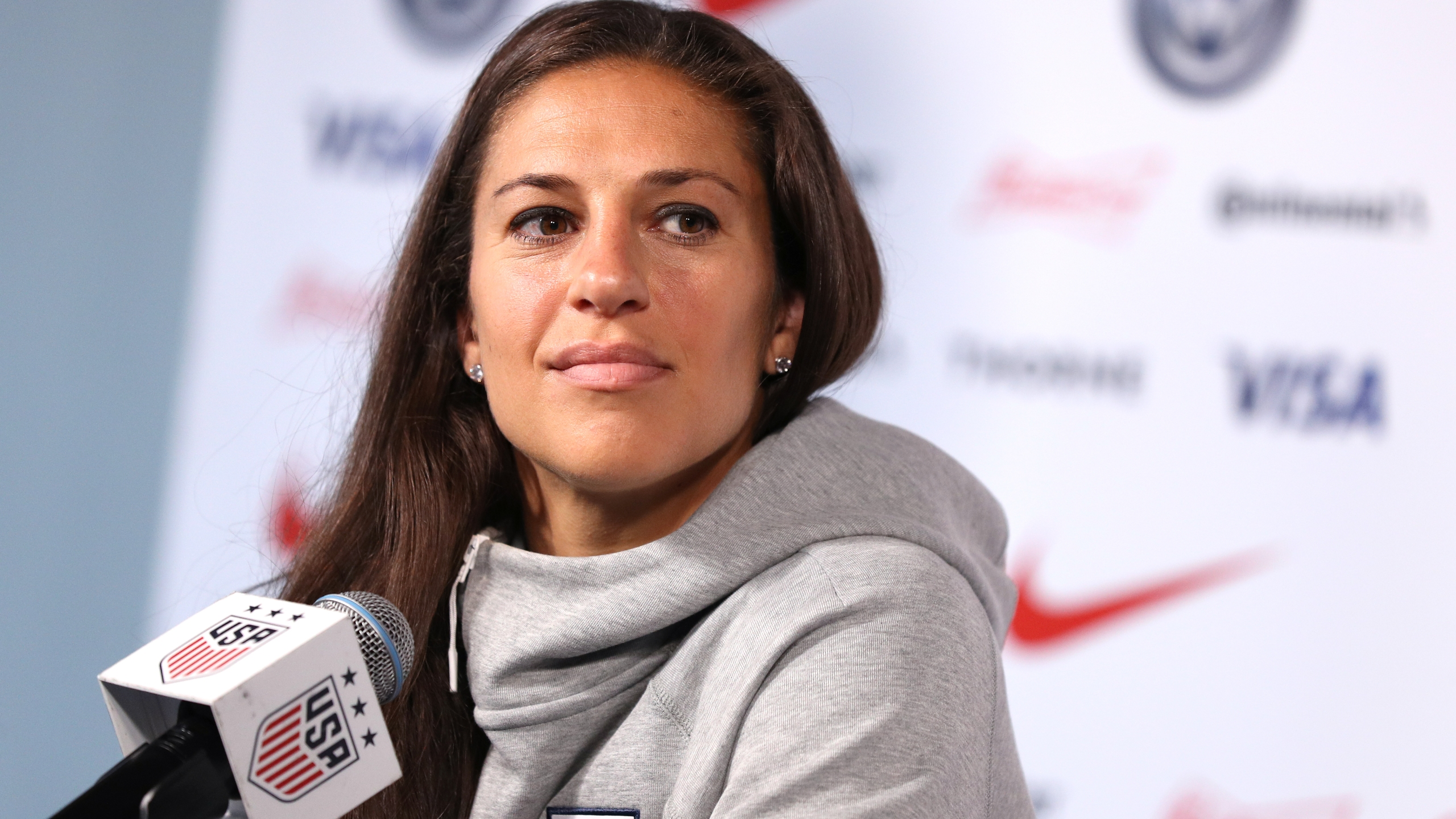 Carli Lloyd of the United States speaks during the United States Women's National Team Media Day ahead of the 2019 Women's World Cup at Twitter NYC on May 24, 2019 in New York City. (Credit: Mike Lawrie/Getty Images)