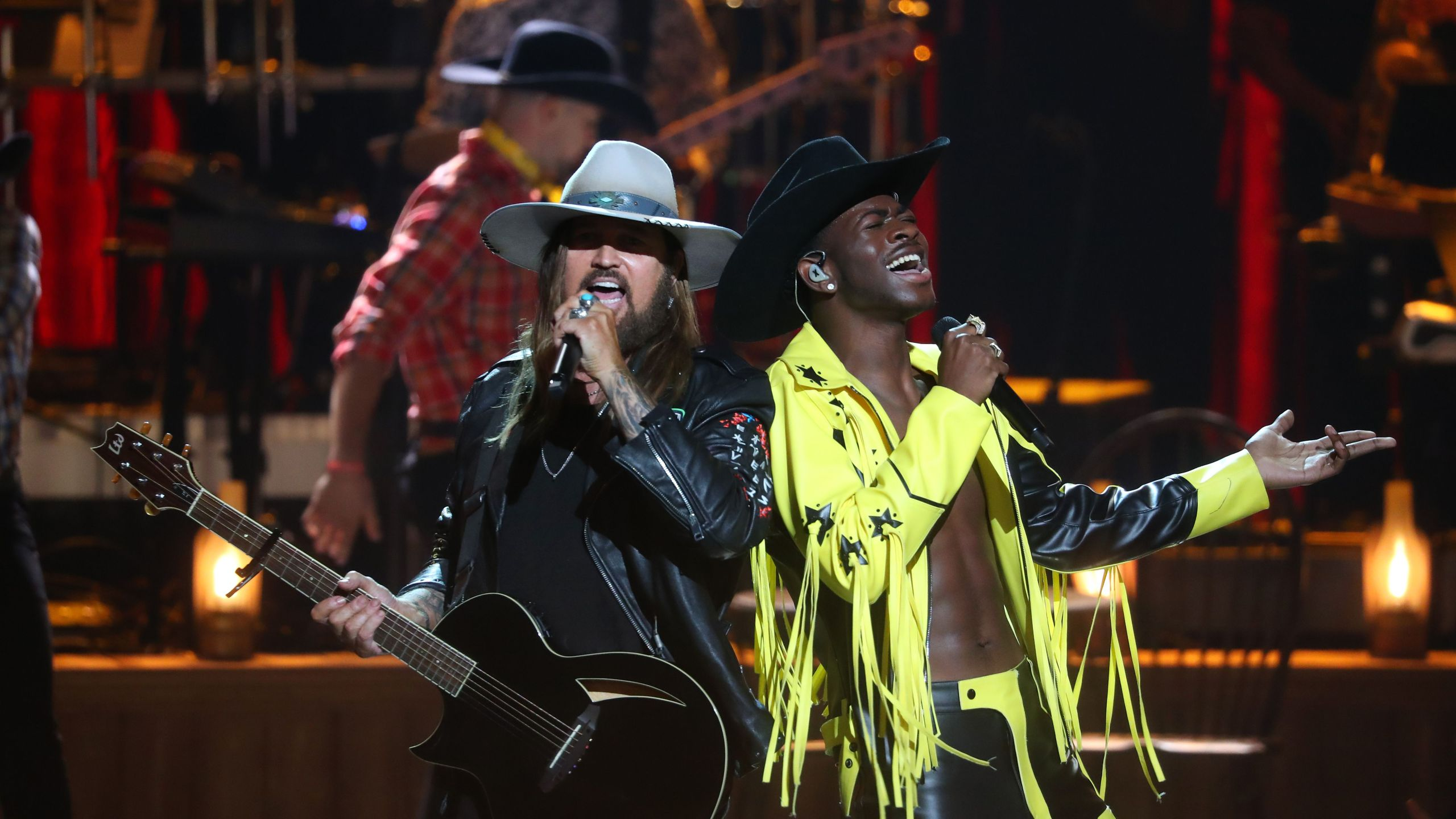 Billy Ray Cyrus and Lil Nas X perform onstage during the 2019 BET awards at Microsoft Theater in Los Angeles on June 23, 2019. (Credit: JEAN-BAPTISTE LACROIX/AFP/Getty Images)