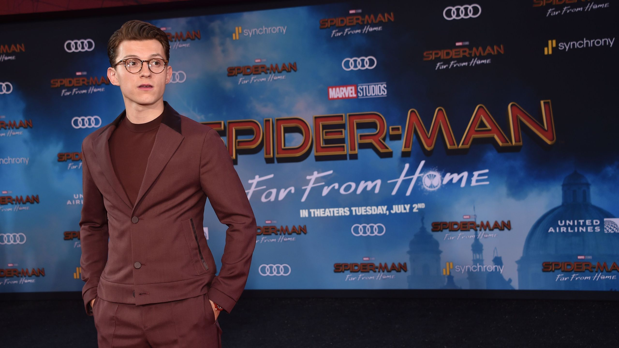 British actor Tom Holland arrives for the Spider-Man: Far From Home World premiere at the TCL Chinese theatre in Hollywood on June 26, 2019. (Credit: Chris Delmas Delmas/AFP/Getty Images)