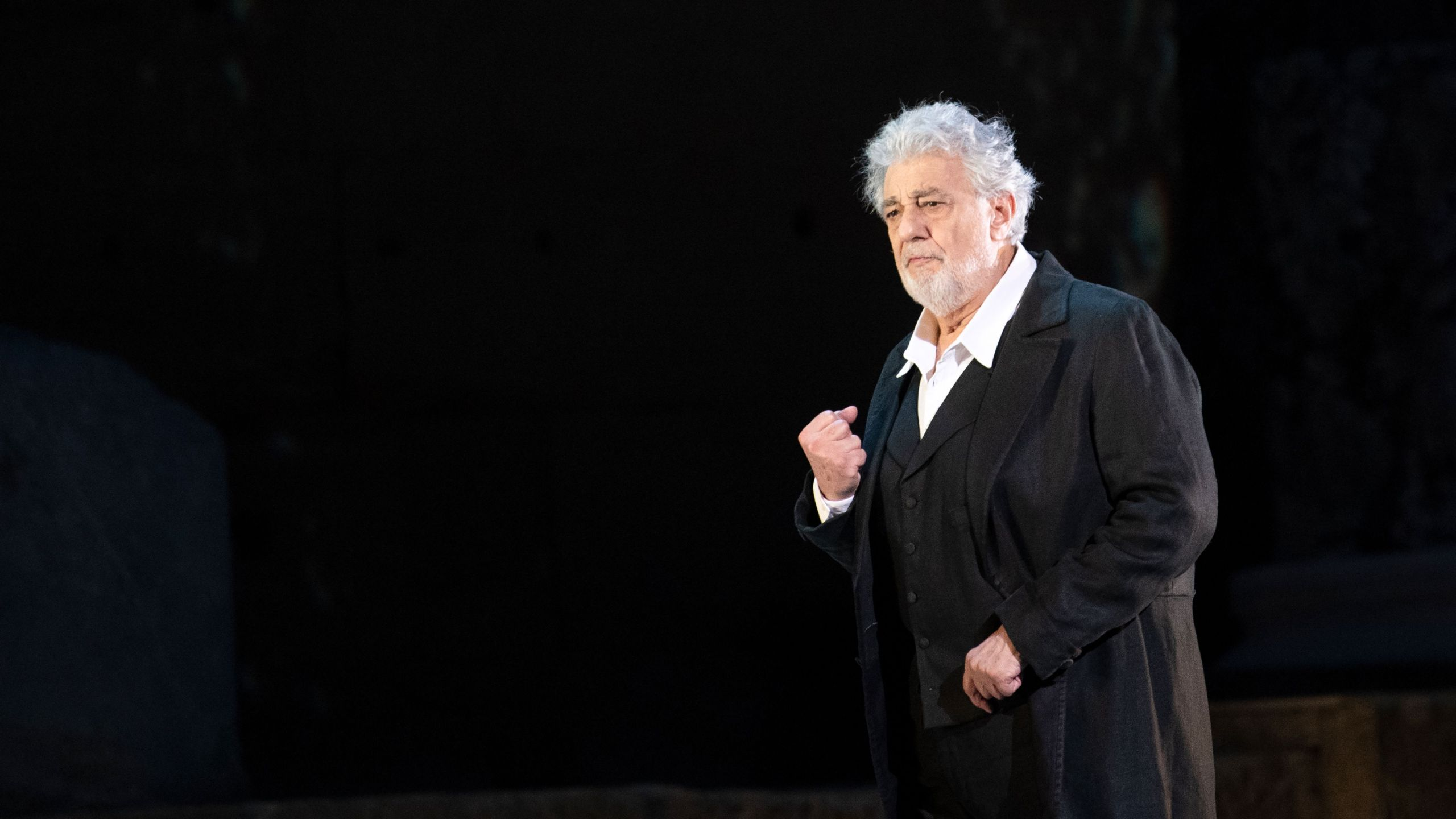 "Opera singer Placido Domingo performs on stage during the dress rehearsal of ""Spanish Night"" at the Chorégies d'Orange in France on July 5, 2019. (Credit: Christophe Simon / AFP / Getty Images)"