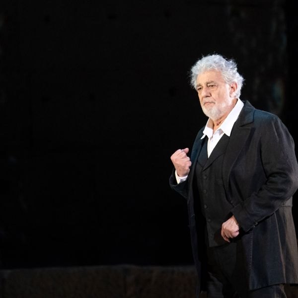 """Opera singer Placido Domingo performs on stage during the dress rehearsal of """"Spanish Night"""" at the Chorégies d'Orange in France on July 5, 2019. (Credit: Christophe Simon / AFP / Getty Images)"""