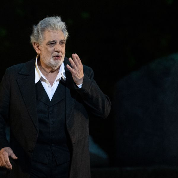 """Spanish opera singer Placido Domingo, 78, performs on stage during the dress rehearsal of """"Spanish Night"""" at the 150th Choregie in Orange on July 5, 2019. (Credit: CHRISTOPHE SIMON/AFP/Getty Images)"""