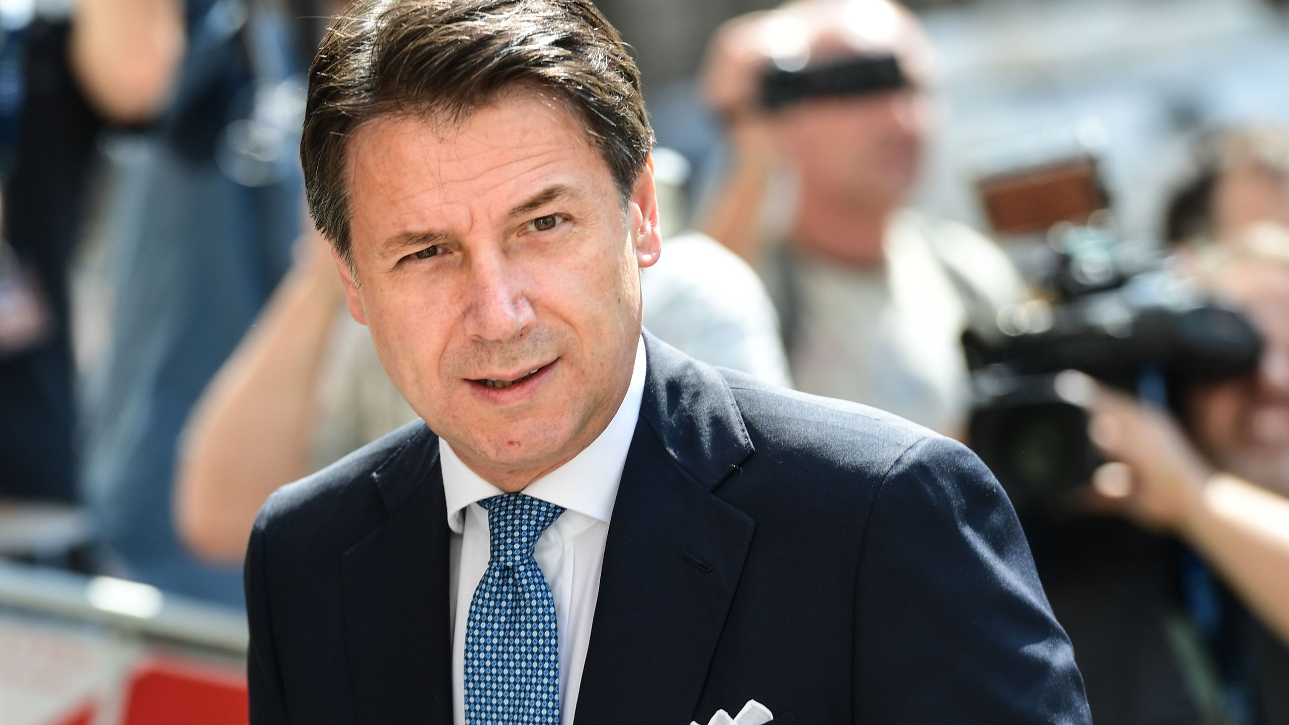 Italys Prime Minister Giuseppe Conte arrives to attend the 100th anniversary of the Italian Banking Association (ABI) on July 12, 2019 in Milan. (Credit: MIGUEL MEDINA/AFP/Getty Images)