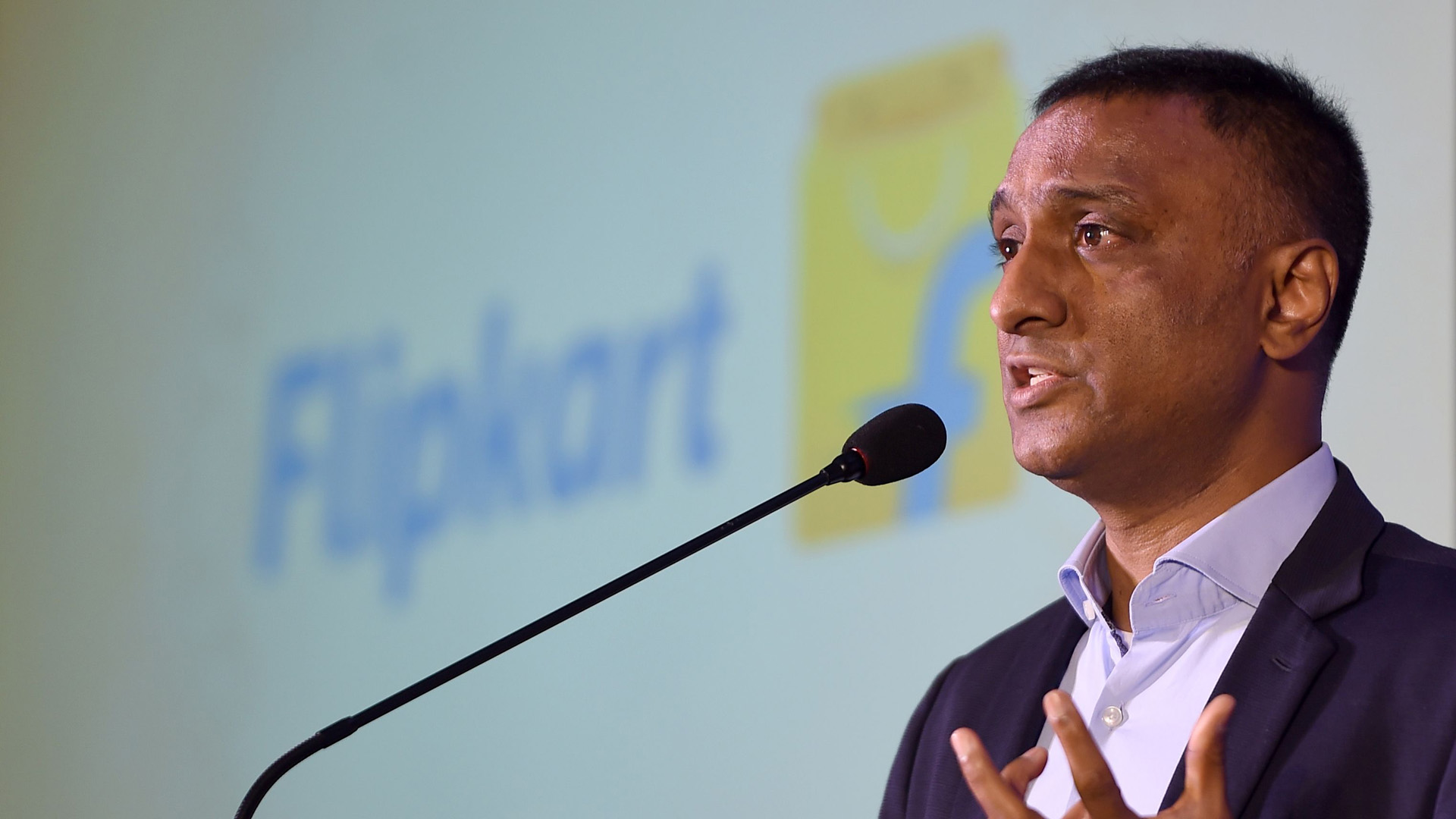 "Kalyan Krishnamurthy, chief executive officer of Flipkart, speaks during an event to launch the E-commerce platforms initiative ""Samarth"" to support handicraft communities with access to the national market in New Delhi on July 31, 2019. (Credit: MONEY SHARMA/AFP/Getty Images)"