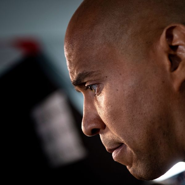Cory Booker speaks to reporters in Detroit, Michigan on July 31, 2019. (Credit: Brendan Smialowski/AFP/Getty Images)