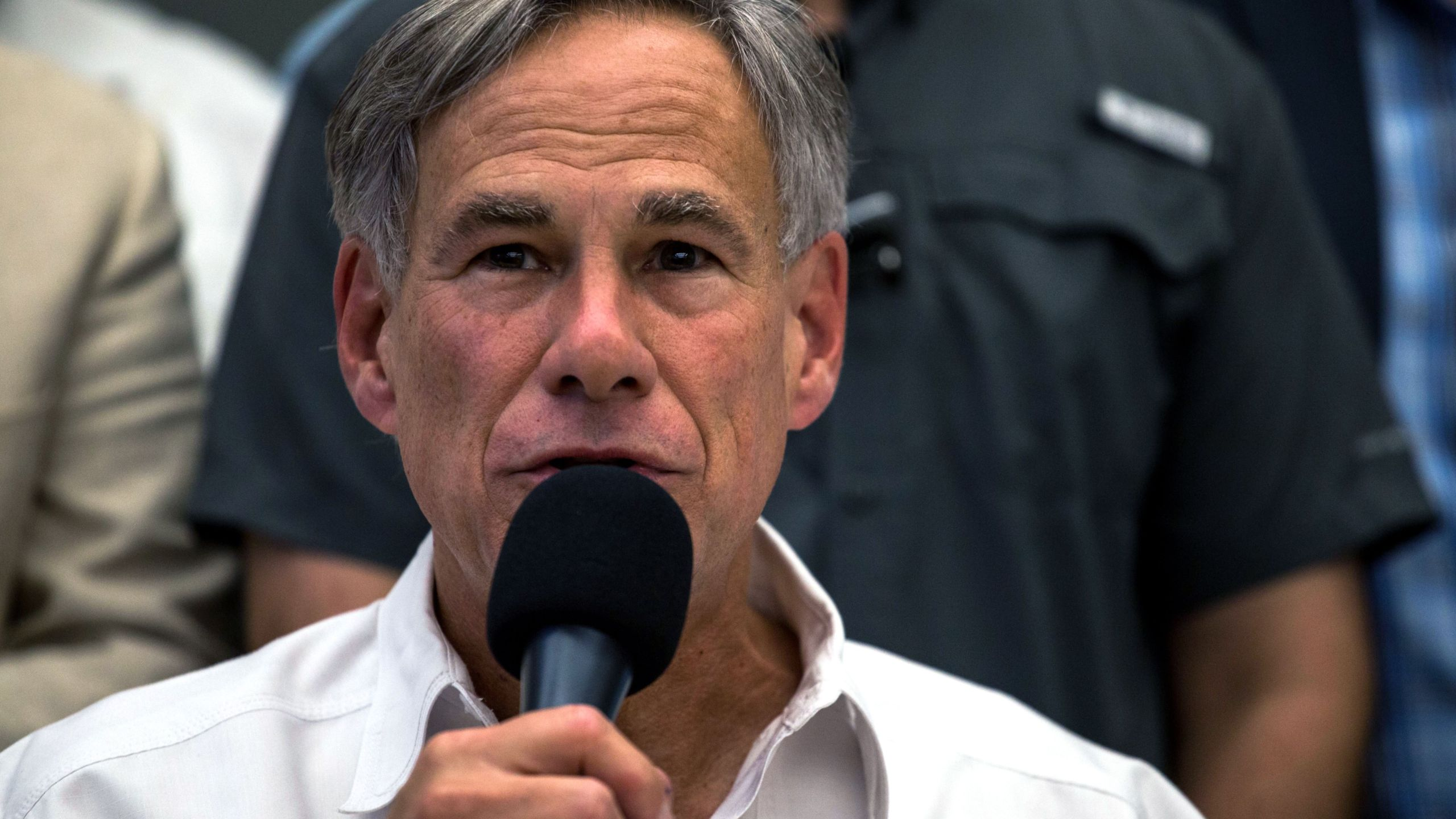 Texas Gov. Greg Abbott speaks during a press briefing, following a mass fatal shooting, at the El Paso Regional Communications Center in El Paso, Texas, on Aug. 3, 2019.(Credit: JOEL ANGEL JUAREZ/AFP/Getty Images)