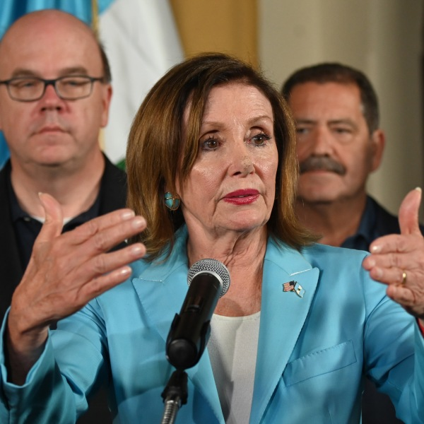 U.S. Speaker of the House Nancy Pelosi speaks during a press conference at the Air Force Base in Guatemala City on August 8, 2019. (Credit: JOHAN ORDONEZ/AFP/Getty Images)