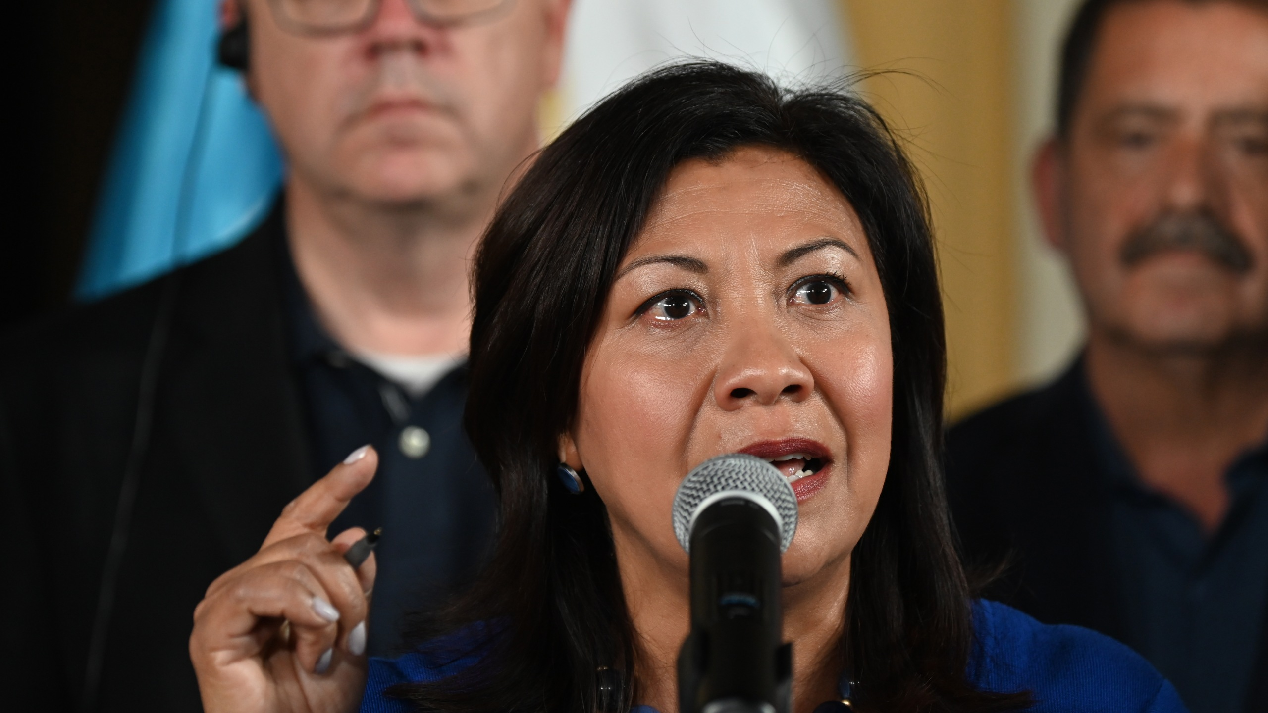 Rep. Norma Torres speaks during a press conference at the Air Force Base in Guatemala City on Aug. 8, 2019. (Credit: JOHAN ORDONEZ/AFP/Getty Images)