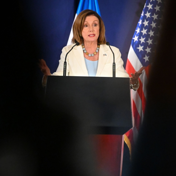 House Speaker Nancy Pelosi gestures during a press conference with El Salvador's President Nayib Bukele at the presidential palace in San Salvador, on Aug. 9, 2019. (Credit: OSCAR RIVERA/AFP/Getty Images)