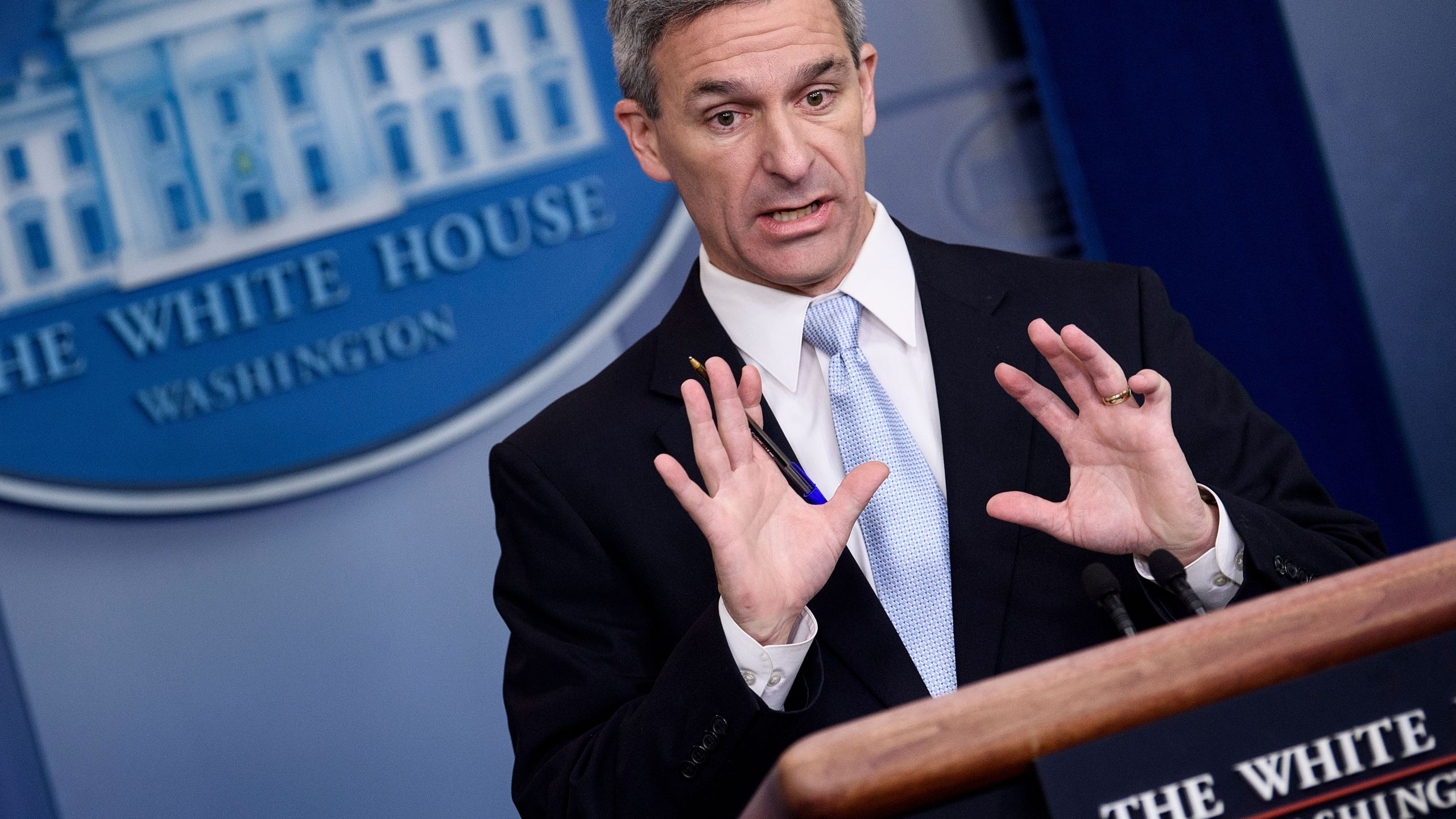 Acting Director of the U.S. Citizenship and Immigration Services Ken Cuccinelli speaks during a briefing at the White House Aug. 12, 2019, in Washington, D.C. (Credit: BRENDAN SMIALOWSKI/AFP/Getty Images)