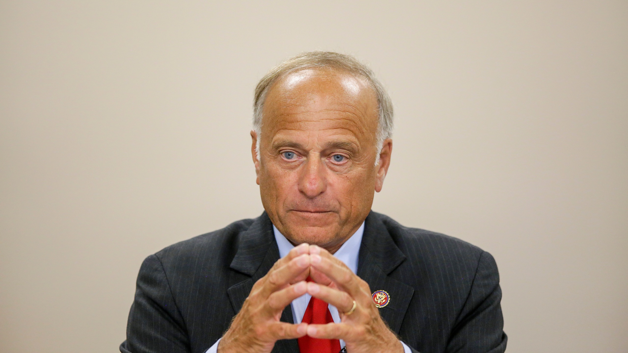 Rep. Steve King speaks during a town hall meeting at the Ericson Public Library in Boone, Iowa, on Aug. 13, 2019. (Joshua Lott / Getty Images)