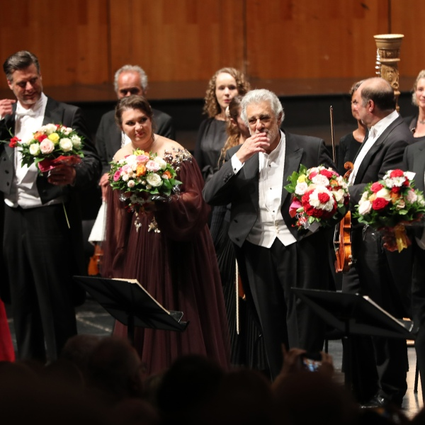 Spanish opera singer Placido Domingo, center, performs at the Salzburg Festival on Aug. 25, 2019 in Austria. (Credit: FRANZ NEUMAYR/AFP/Getty Images)