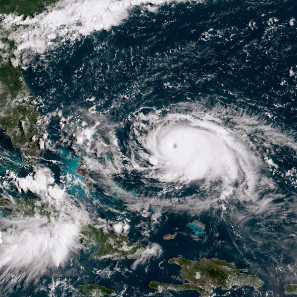 In this NOAA GOES-East satellite handout image, Hurricane Dorian, now a Category, 4 storm, is seen near the Florida coast on Aug. 31, 2019 in the Atlantic Ocean. (Credit: NOAA via Getty Images)