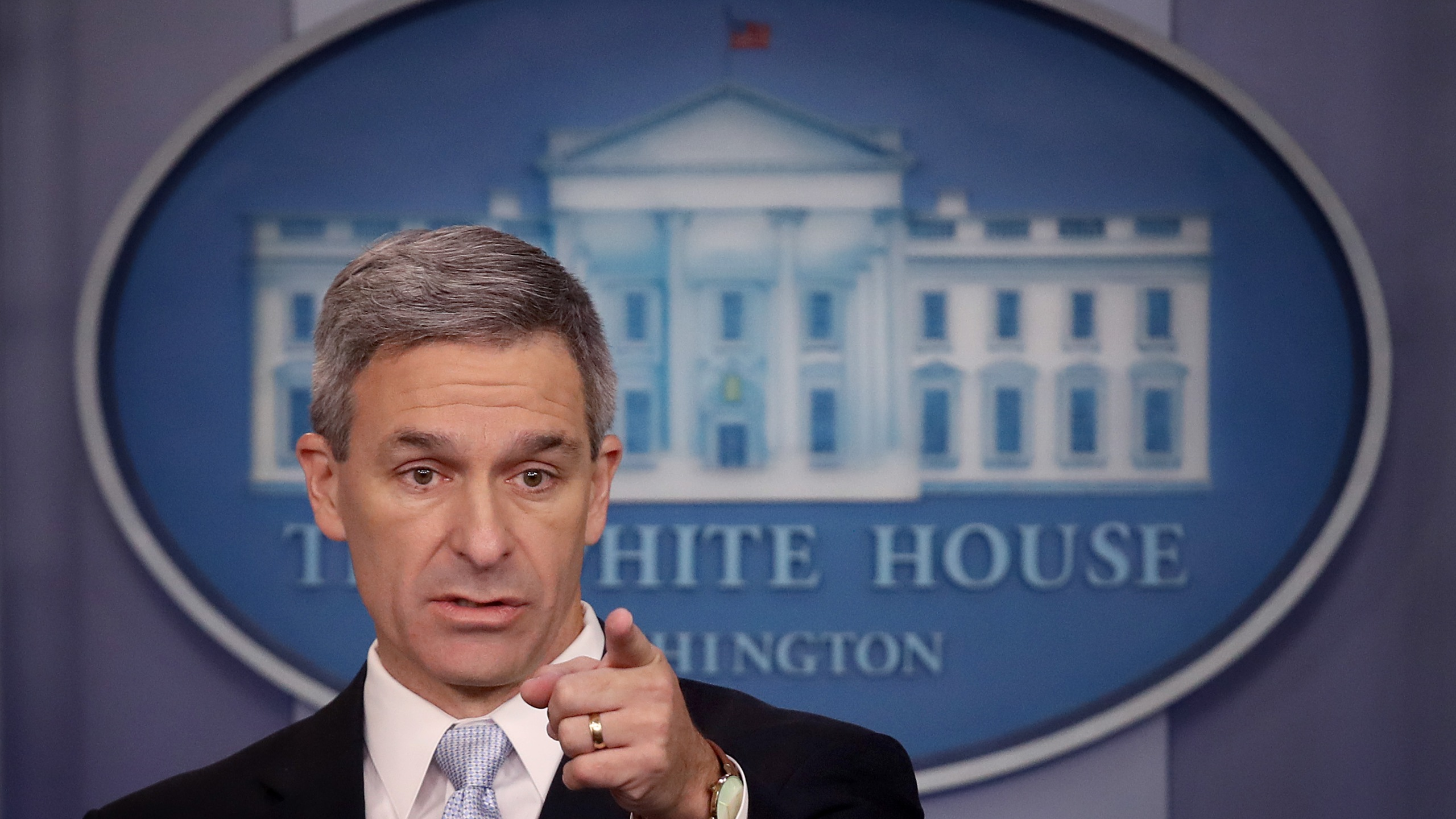Acting Director of U.S. Citizenship and Immigration Services Ken Cuccinelli speaks about immigration policy at the White House on Aug. 12, 2019. (Credit: Win McNamee / Getty Images)