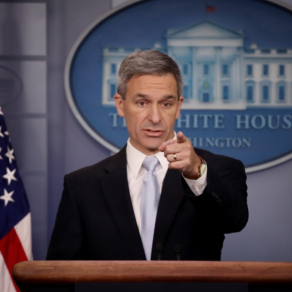 Acting Director of U.S. Citizenship and Immigration Services Ken Cuccinelli speaks about immigration policy at the White House during a press briefing Aug. 12, 2019, in Washington, D.C. (Credit: Win McNamee/Getty Images)