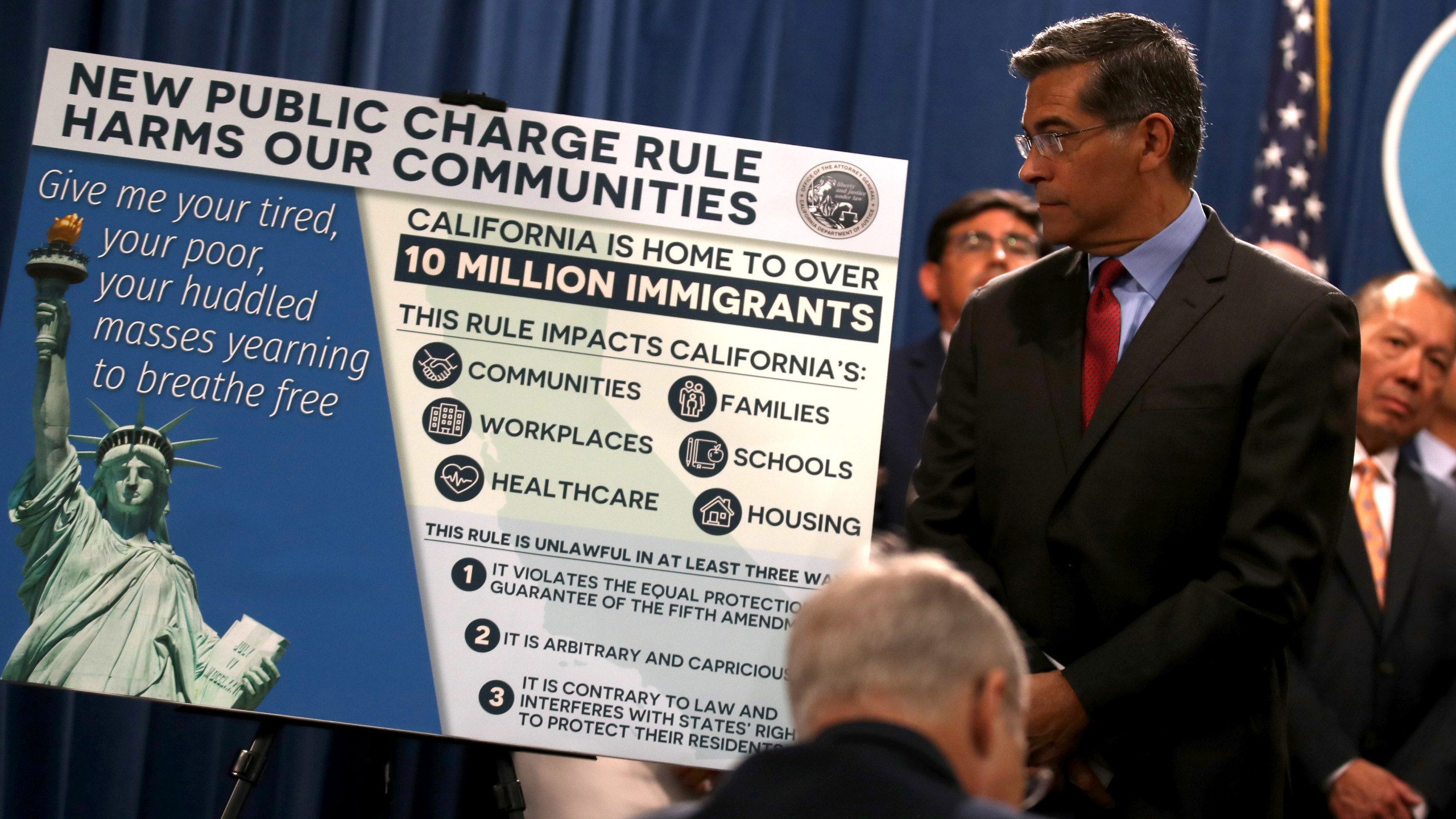 California Attorney General Xavier Becerra looks at a poster displayed during a news conference with Gov. Gavin Newsom at the State Capitol on Aug. 16, 2019 in Sacramento. (Credit: Justin Sullivan/Getty Images)
