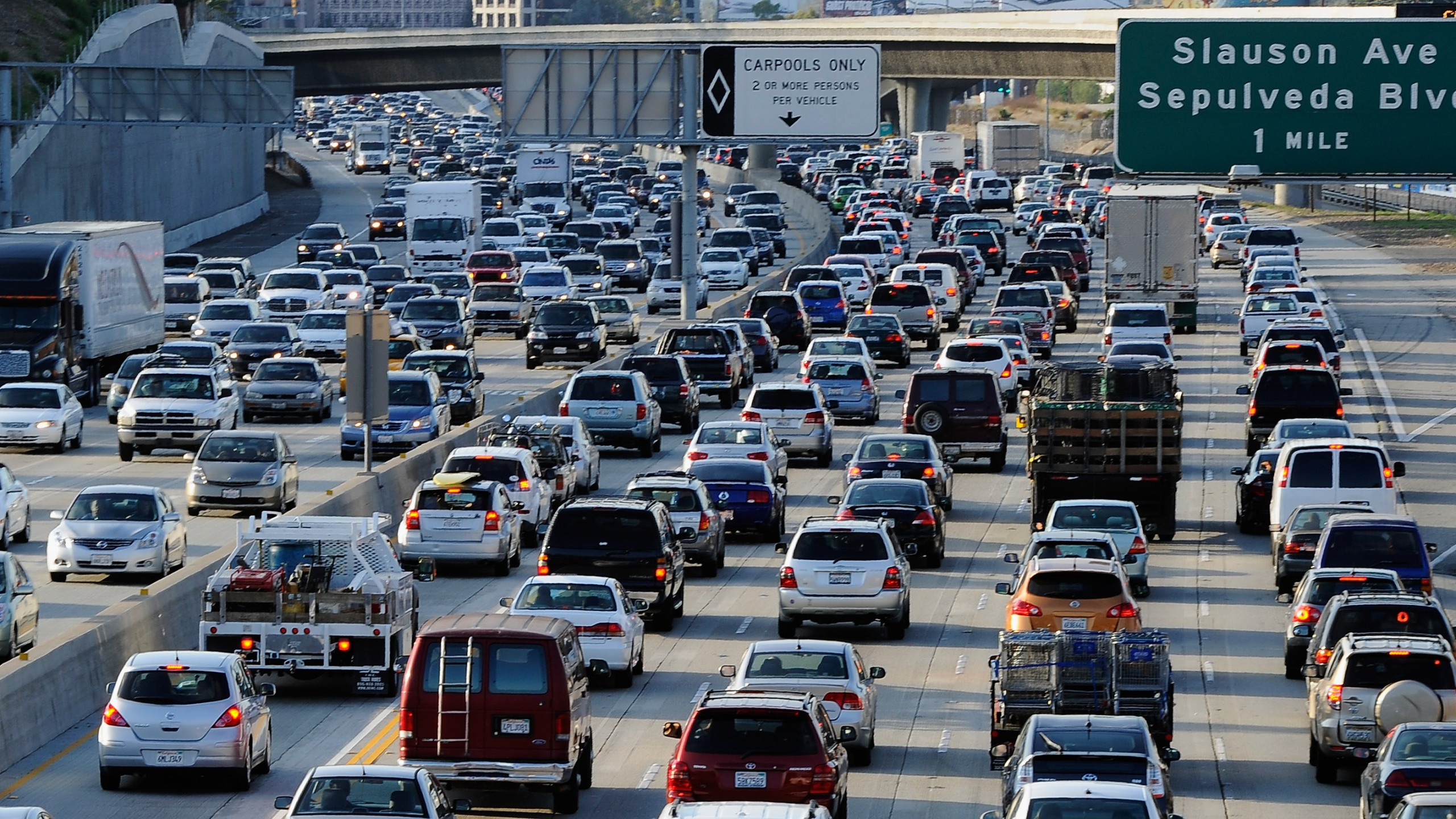 Traffic comes to a stand still on the northbound and the southbound lanes of the Interstate 405 freeway near Los Angeles International Aiprort on November 23, 2011. (Credit: Kevork Djansezian/Getty Images)