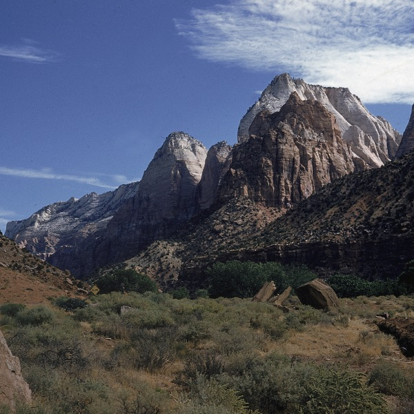 View of Mountain of the Sun (left) and East Temple in Zion National Park, Utah, c. 1975. (Credit: Emil Muench/Getty Images)
