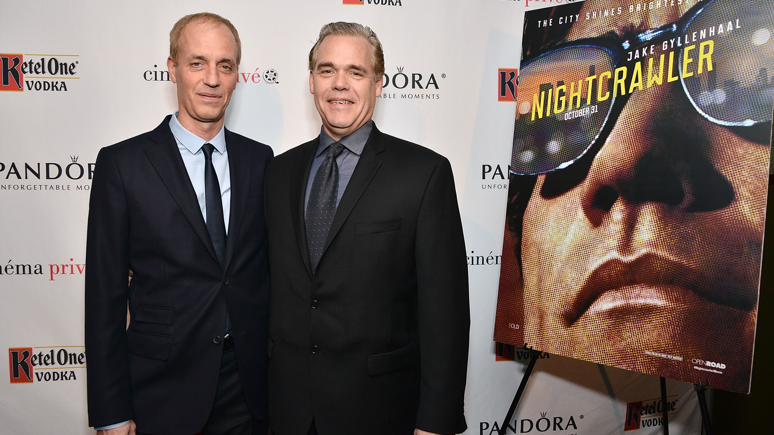 "Dan Gilroy and John Gilroy attend cinema prive and PANDORA Jewelry host a special screening of ""Nightcrawler"" featuring Ketel One Vodka Cocktails on Dec. 15, 2014, in West Hollywood. (Credit: Araya Diaz/Getty Images for cinema prive)"