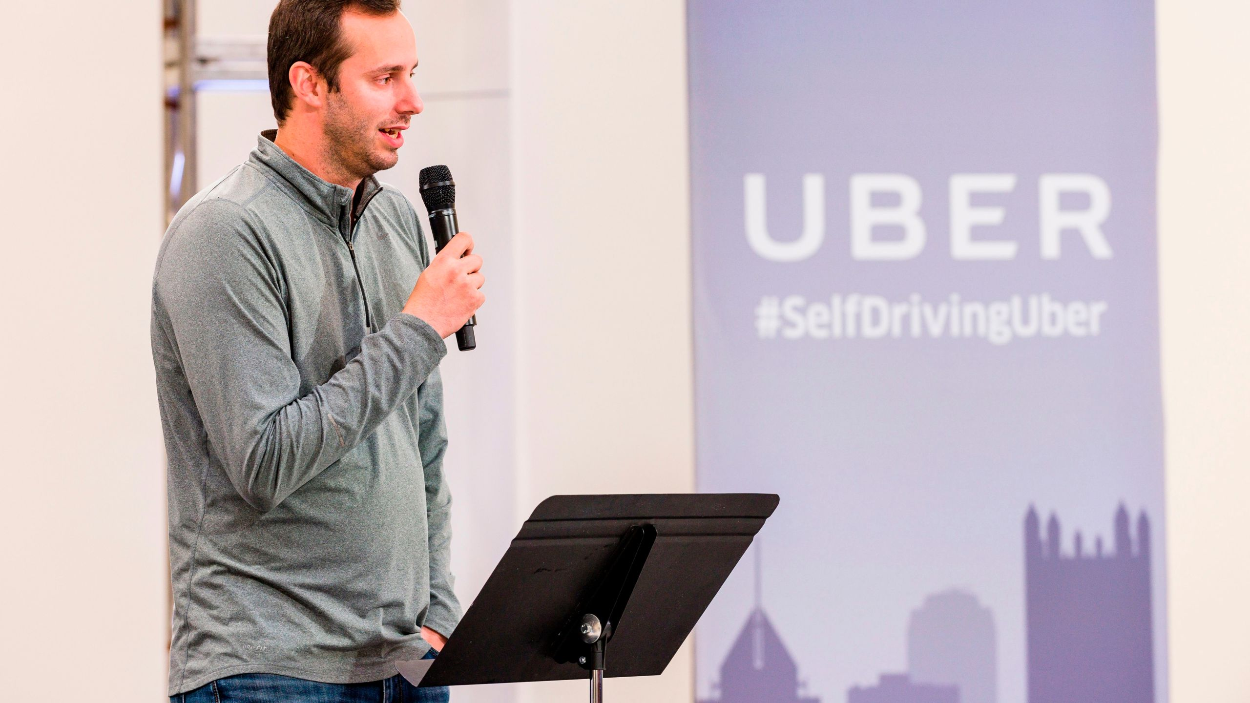 Anthony Levandowski speaks to members of the press during the launch of the pilot model of the Uber self-driving car in Pittsburgh, Pennsylvania, on Sept. 13, 2016. (Credit: Angelo Merendino / AFP / Getty Images)