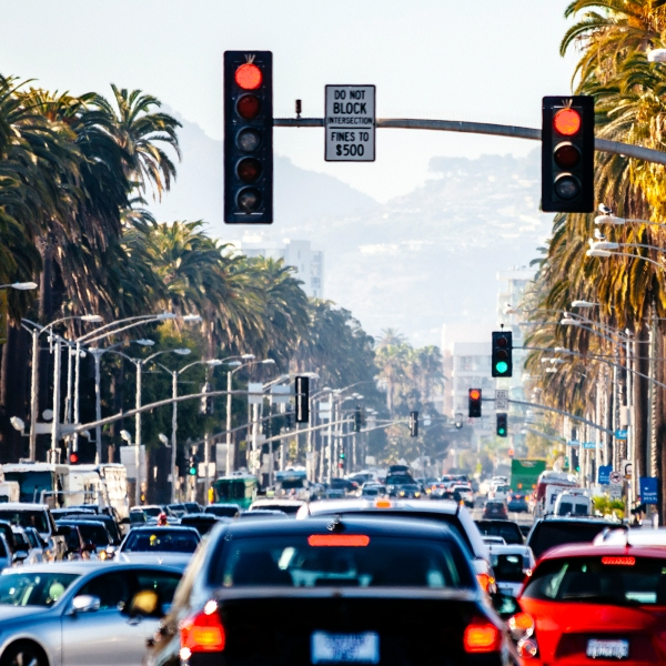 Traffic sits stalled in Santa Monica in this file photo. (Credit: Getty Images)