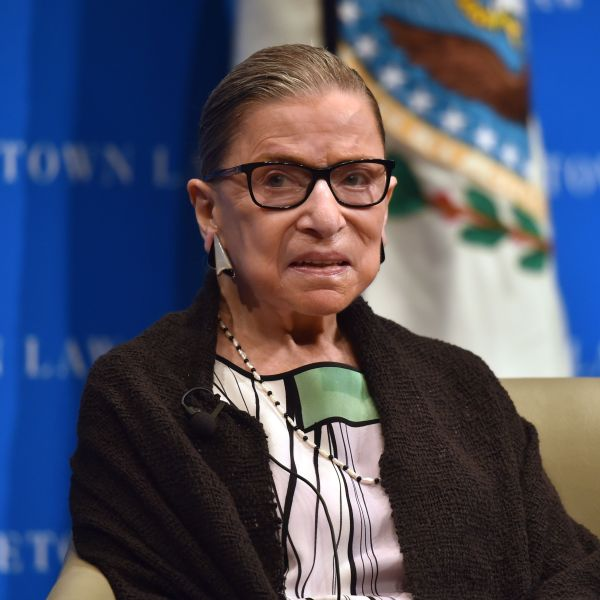 Supreme Court Justice Ruth Bader Ginsburg looks on as she speaks to first year Georgetown University law students in Washington, DC on Sept. 20, 2017. (Credit: Nicholas Kamm/AFP/Getty Images)
