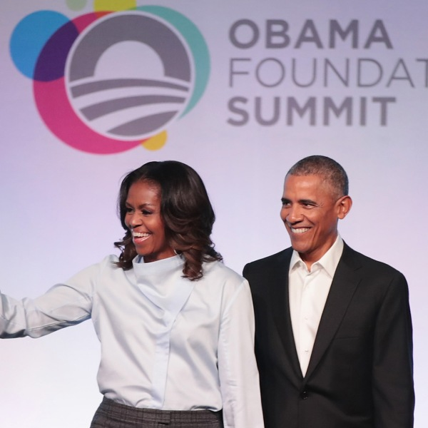 Former first Lady Michelle and former president Barack Obama are introduced at the inaugural Obama Foundation Summit on October 31, 2017 in Chicago, Illinois. (Credit: Scott Olson/Getty Images)