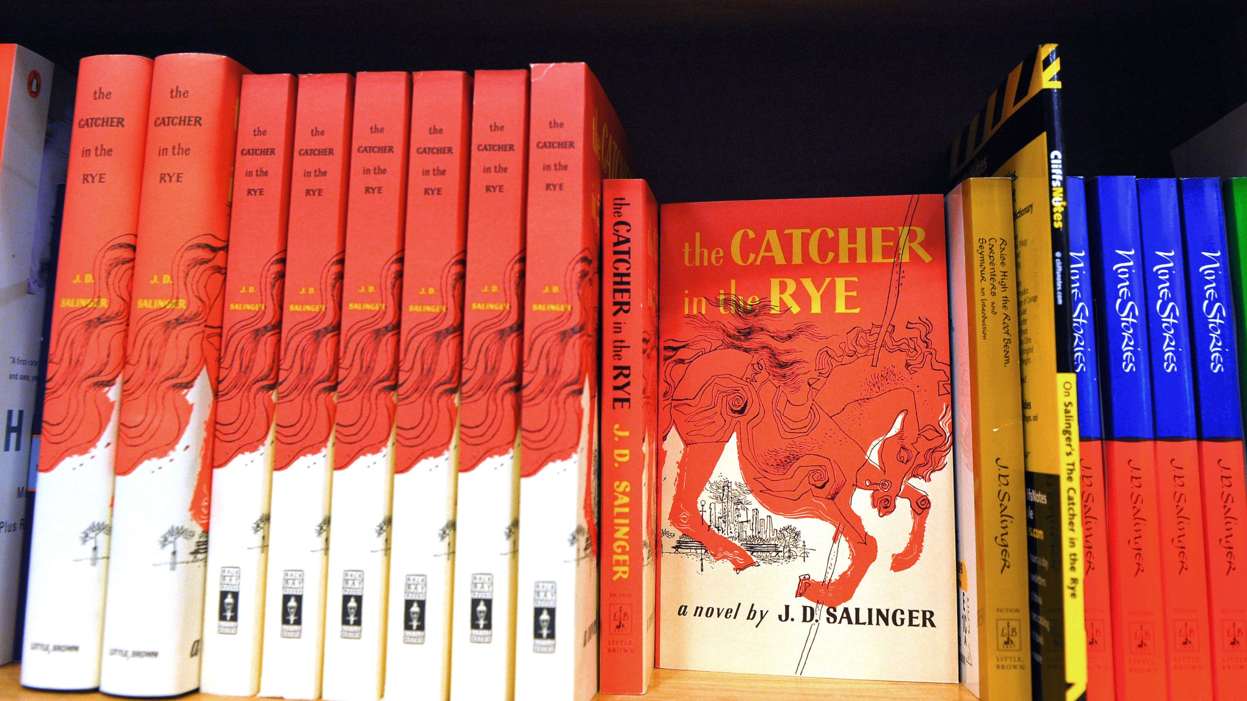 """A January 28, 2010 photo shows a copies of """"The Catcher in the Rye"""" by author J.D. Salinger at a bookstore in Washington, DC. (Credit: MANDEL NGAN/AFP/Getty Images)"""