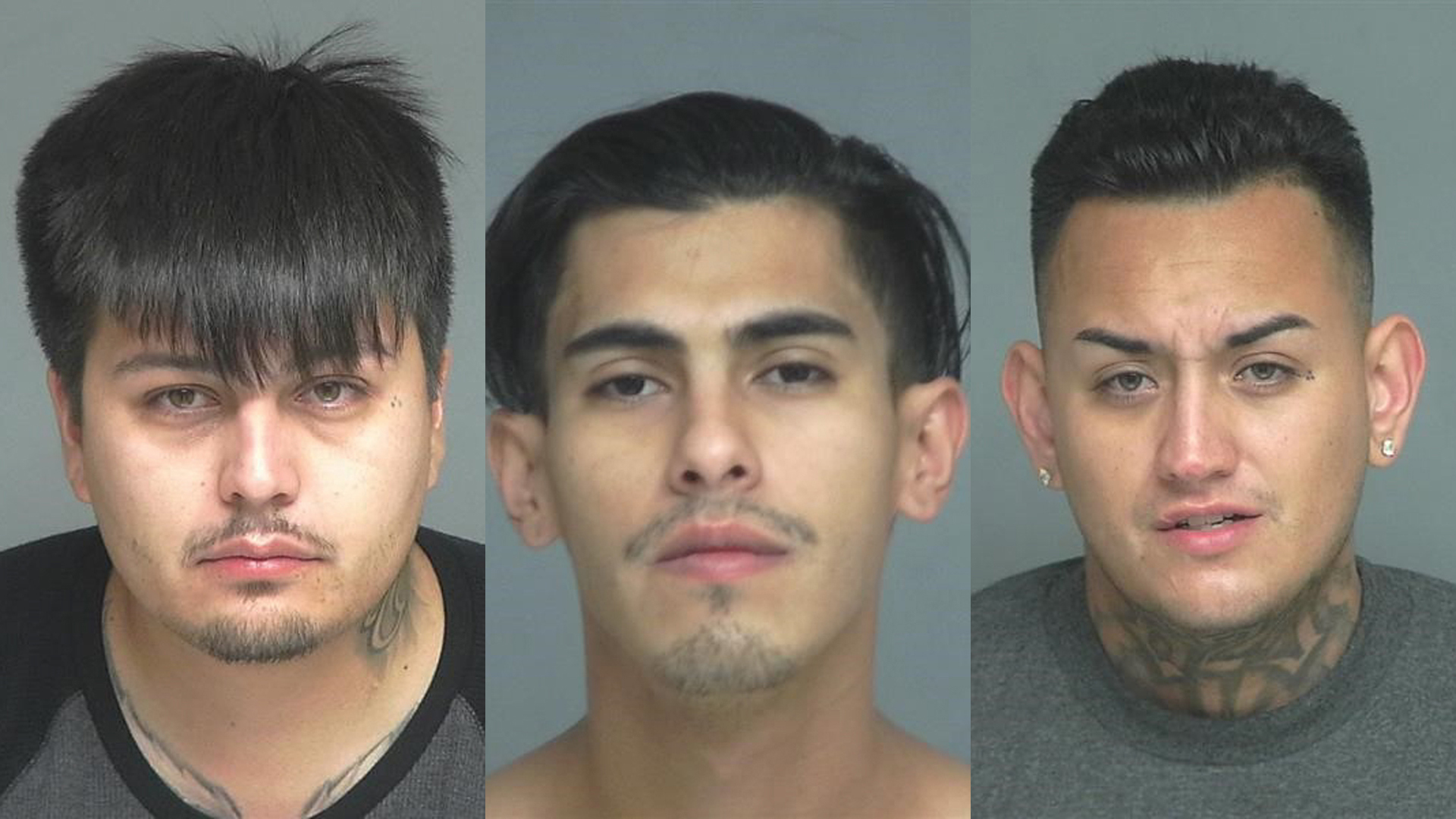 (Left to right) Victor Rene Larios, 29, Jacob Alexander Ruiz, 24, and Joseph Anthony Ruiz, 27, all of Arizona, pictured in photos released by the Garden Grove Police Department following their arrests on Aug. 5, 2019.