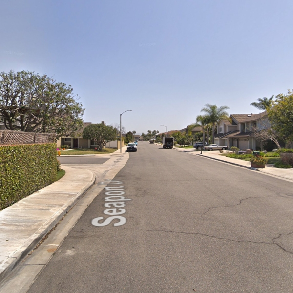 The 8000 block of Seaport Drive in Huntington Beach, as viewed in a Google Street View image.