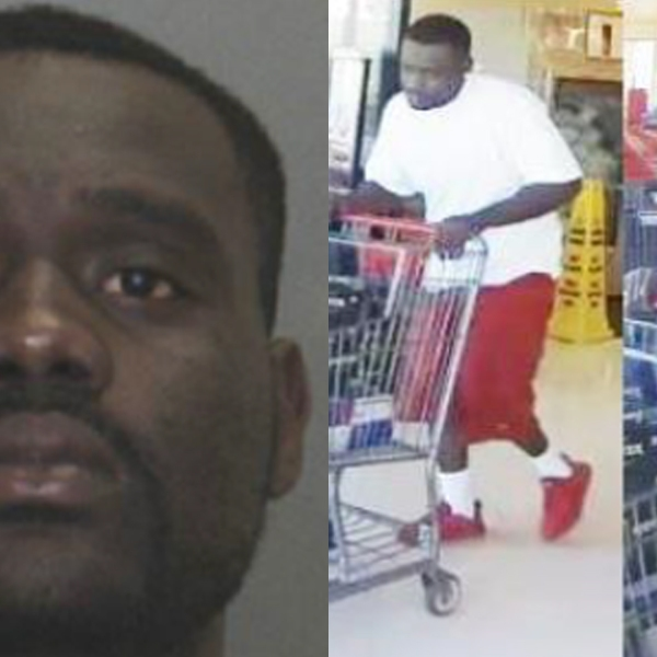 Kendale Rafael Hicks, 28, is seen in a photo alongside another picture that police say shows him stealing energy drinks. The photos were released by the Hesperia Police Department on Aug. 14, 2019.