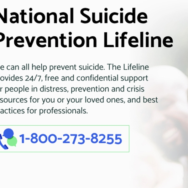 A screenshot from the National Suicide Prevention Lifeline's home page.