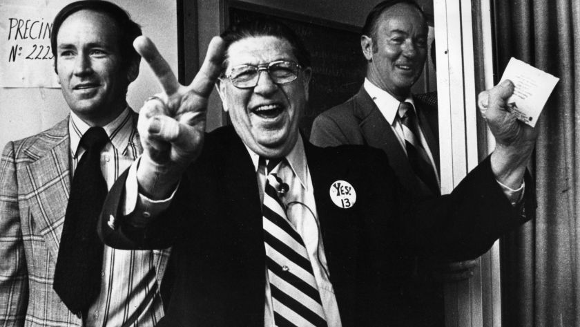Howard Jarvis, the iconic sponsor of Proposition 13, on election day in June 1978.(Credit: Los Angeles Times)