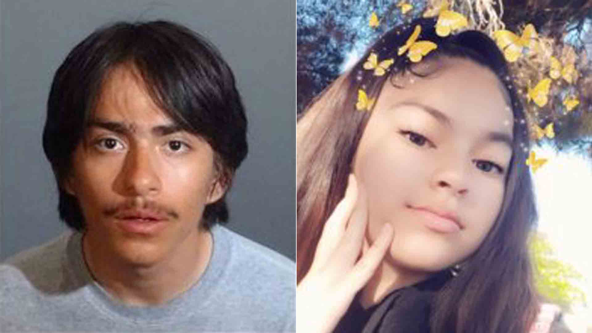 Eddie Alvirez, left, is seen in an image provided by the Los Angeles County Sheriff's Department; the victim, right, is seen in an image provided by a family member.