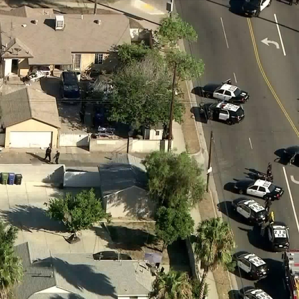 At least a dozen LAPD vehicles converge in an Arleta neighborhood after a police shooting on Aug. 19, 2019. (Credit: KTLA)