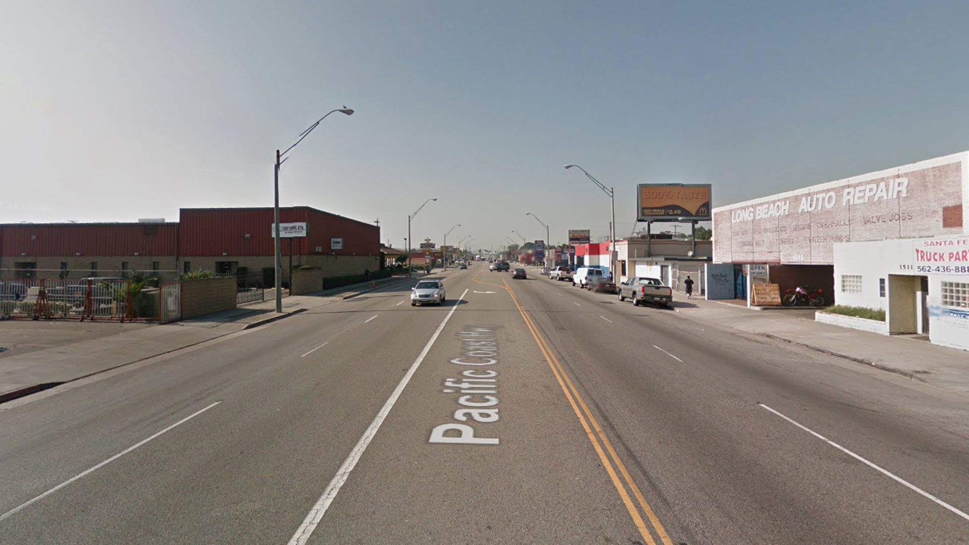 The 1500 block of West Pacific Coast Highway in Long Beach, as viewed in a Google Street View image.
