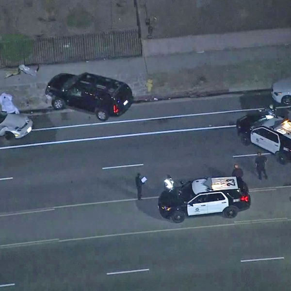 One person was killed and another was injured after a street-racing crash in the Mission Hills area on Aug. 6, 2019. (Credit: KTLA)