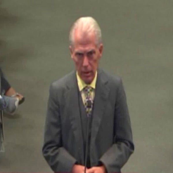 Don Grundmann speaks at a Modesto City Council meeting on Aug. 7, 2019, in a still from footage provided by the city.