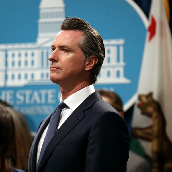 California Gov. Gavin Newsom looks on during a news conference at the California State Capitol on Aug. 16, 2019 in Sacramento. (Credit: Justin Sullivan/Getty Images)