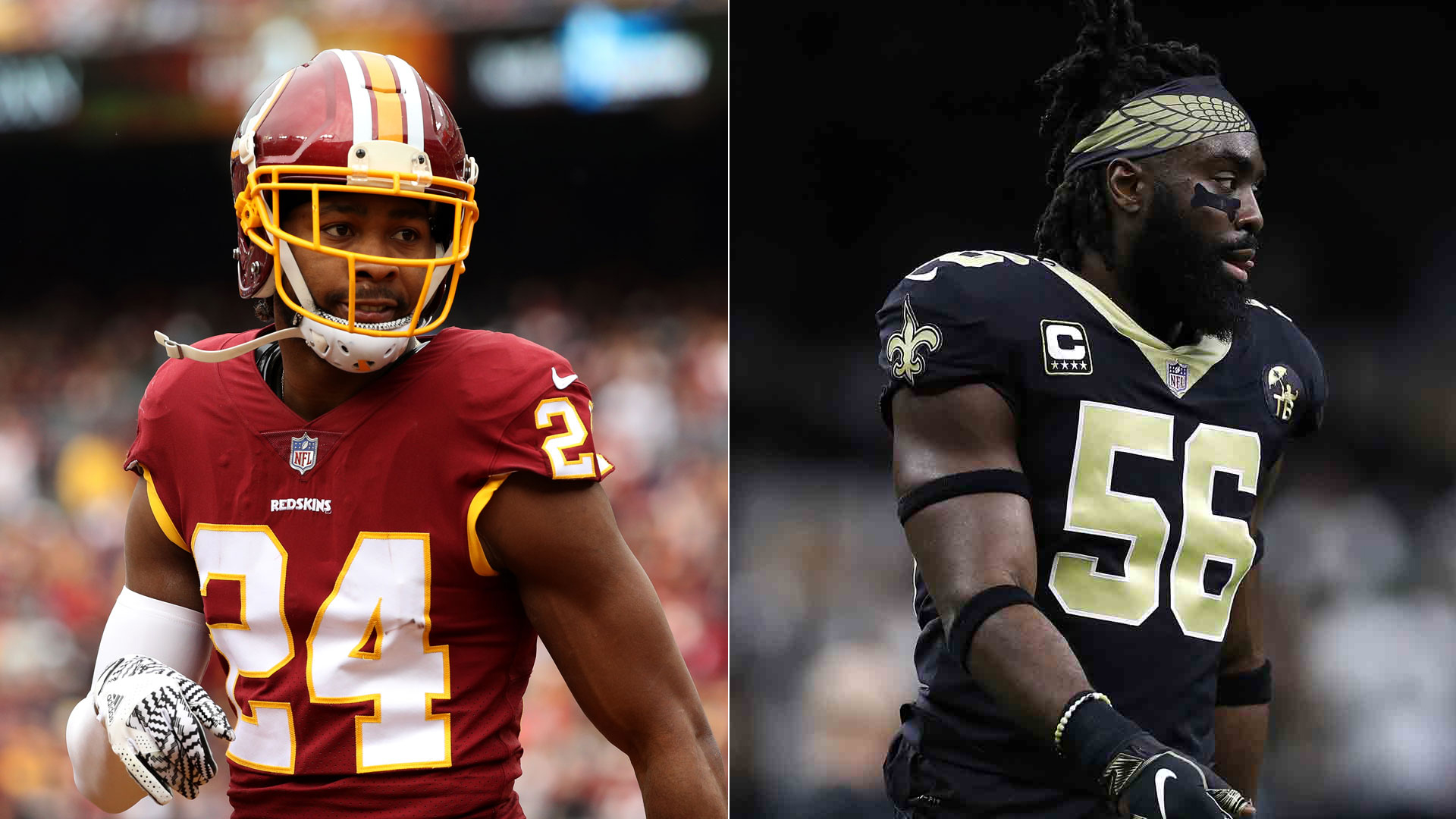 Cornerback Josh Norman of the Washington Redskins, left, and Demario Davis of the New Orleans Saints, right, are seen in file photos. (Credit: Patrick Smith / Getty Images and Chris Graythen / Getty Images)